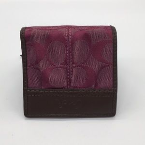 Coach signature burgundy bifold w/coin pouch
